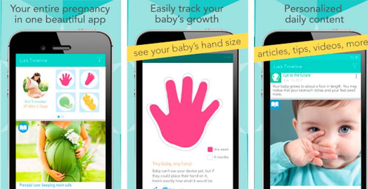 Interfaz gráfica de la app Ovia Pregnancy