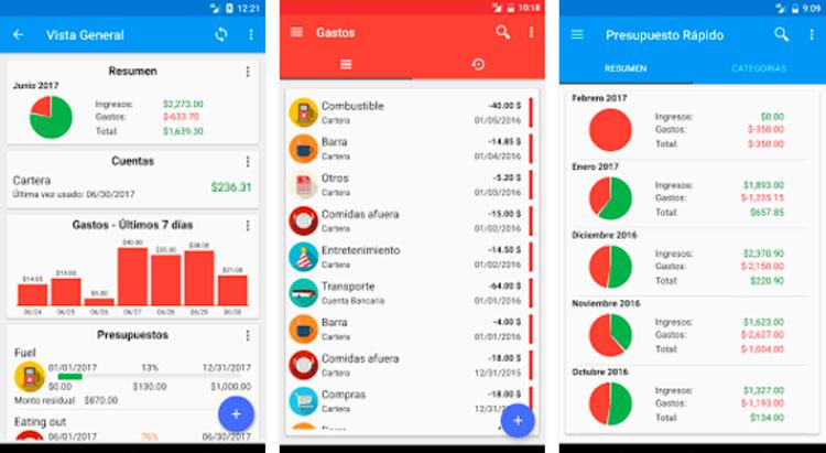 Interfaz gráfica de la app Presupuesto Rápido
