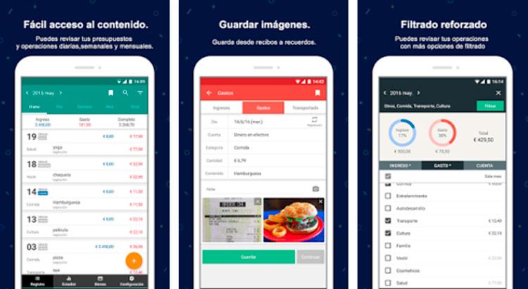 Interfaz gráfica de la app Registro Contable