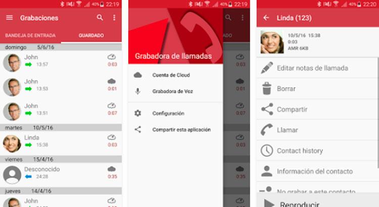 Interfaz gráfica de la app Call Recorder