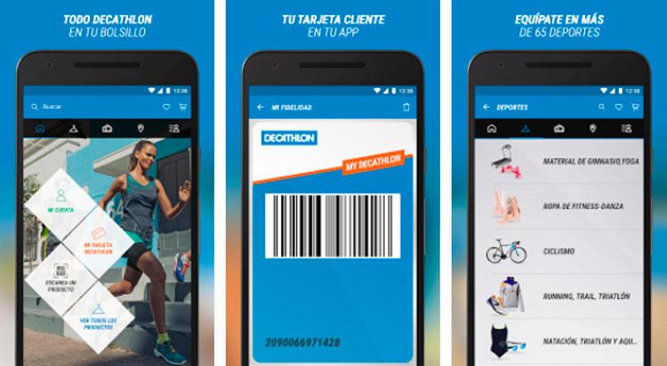 Interfaz gráfica de la app Decathlon