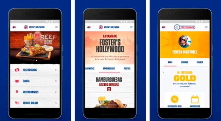 Interfaz gráfica de la app Foster's Hollywood