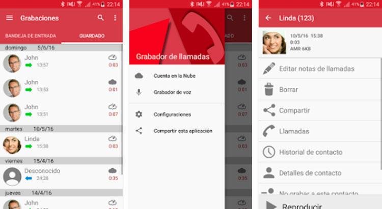 Interfaz de la app de Grabador de llamadas Pro
