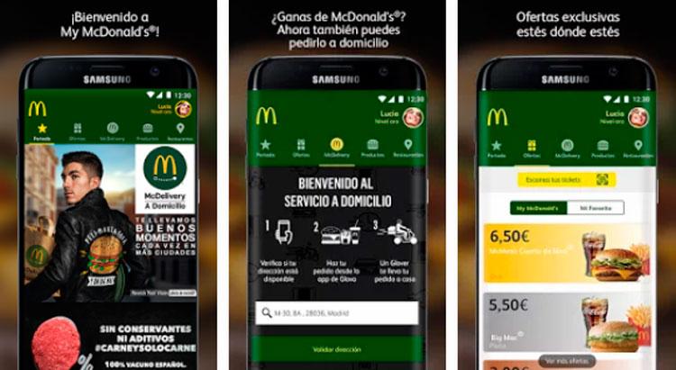 Interfaz gráfica de la app McDonald's España