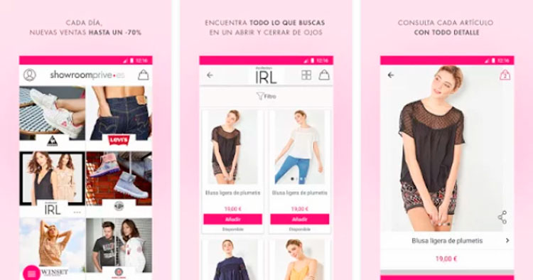 Interfaz gráfica de la app Showroomprive