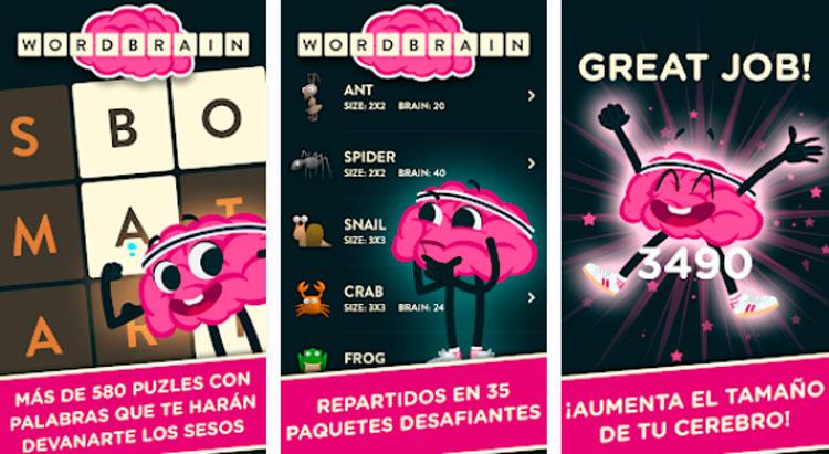 Interfaz gráfica del juego WordBrain