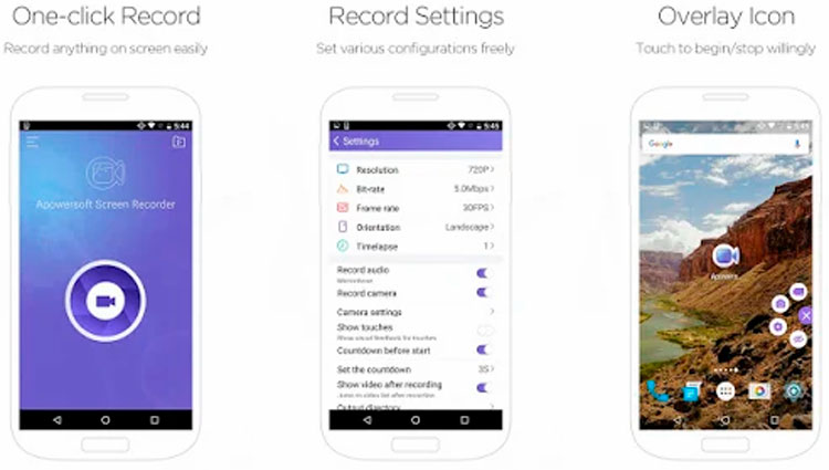Interfaz gráfica de la app Apowersoft Screen Recorder