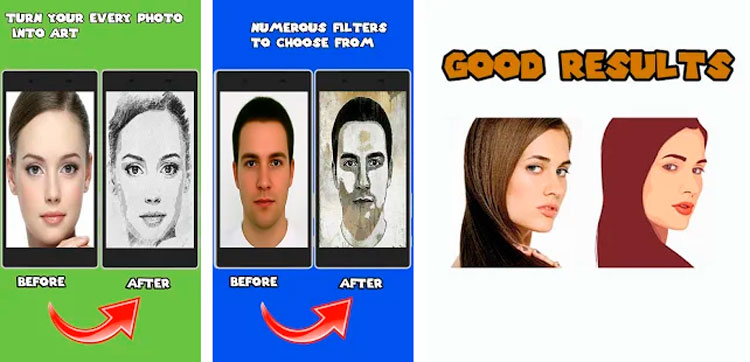 Interfaz gráfica de la app Dibujos animados editor fotos