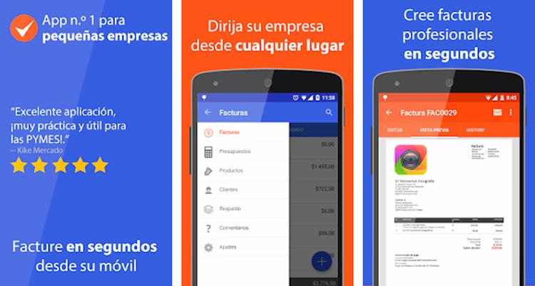 Interfaz gráfica de la app Facturas Fácil