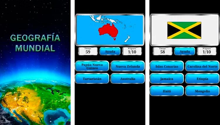 Interfaz gráfica de la app Geografía Mundial
