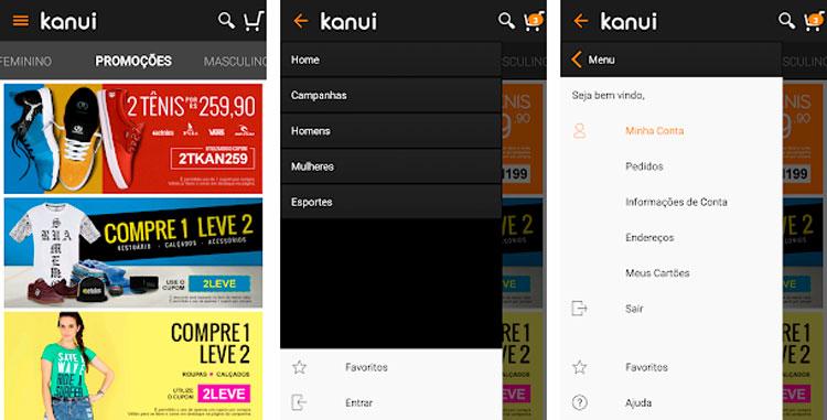 Interfaz gráfica de la app Kanui