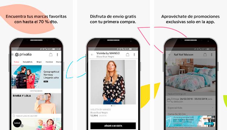 Interfaz de la app de Privalia