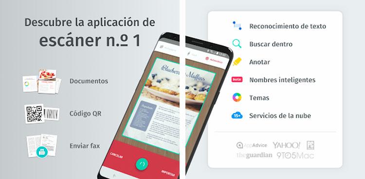 Interfaz gráfica de la app Scanbot