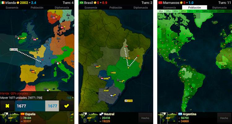 Interfaz gráfica de la app Age of Civilizations