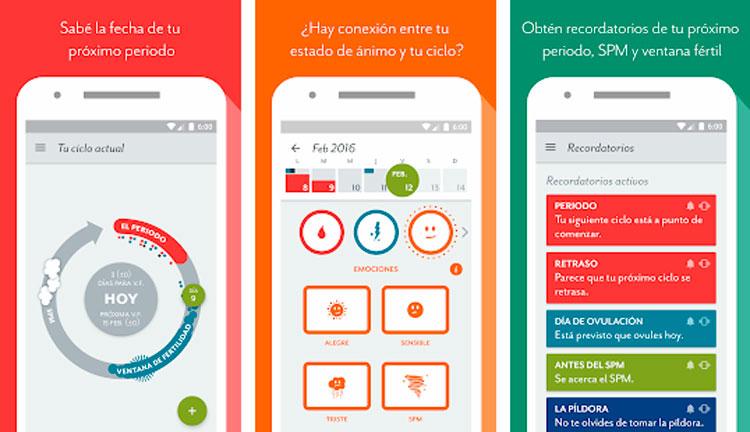 Interfaz gráfica de la app Clue