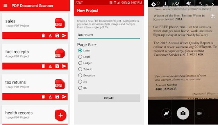 Interfaz gráfica de la app Escáner de documentos PDF