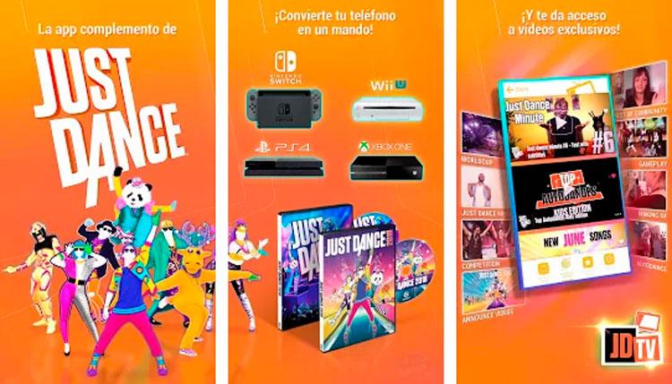 Imágenes promocionales de la aplicación Just Dance Controller.
