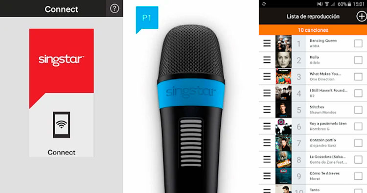 Interfaz gráfica de la app SingStar Mic