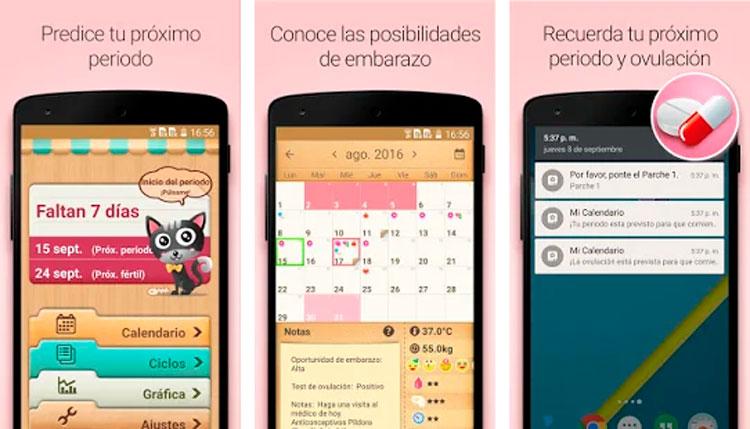Interfaz gráfica de la app Calendario Menstrual
