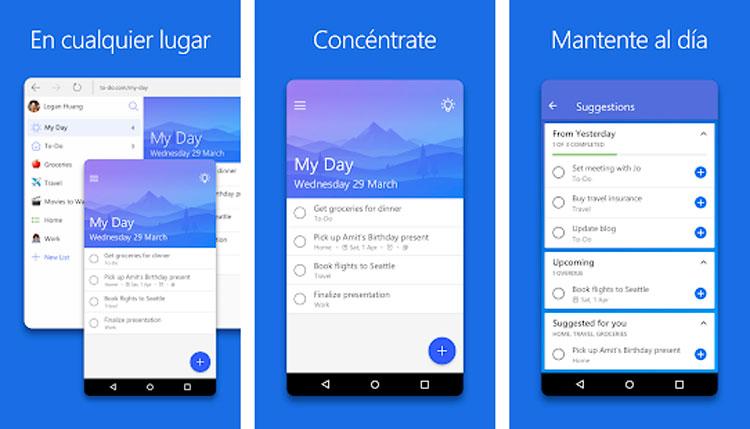Interfaz gráfica de la app Microsoft To-Do