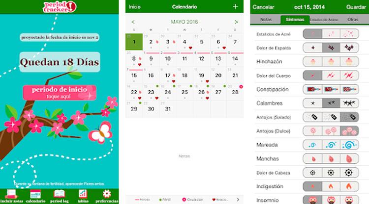 Interfaz gráfica de la app Alerta de Período