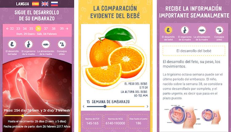 Interfaz gráfica de la app Calendario del embarazo