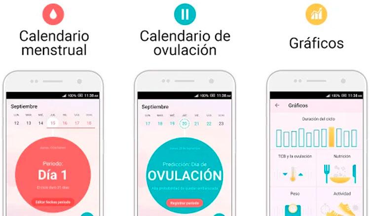 Interfaz gráfica de la app Calendario ovulación y período