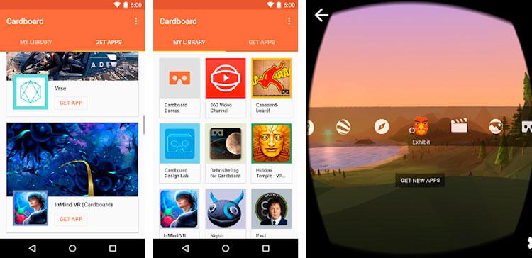 Interfaz gráfica de la app Cardboard