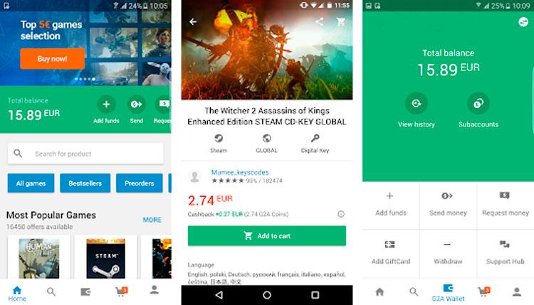 Interfaz gráfica de la app G2A Marketplace