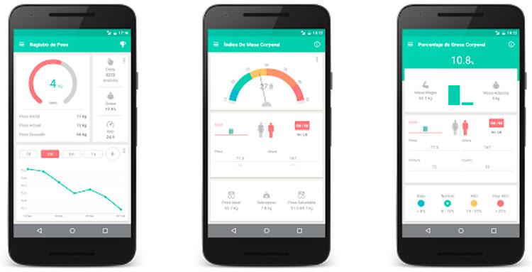 Interfaz gráfica de la app Peso Ideal