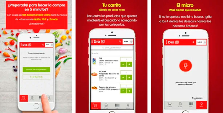 Interfaz gráfica de la app DIA