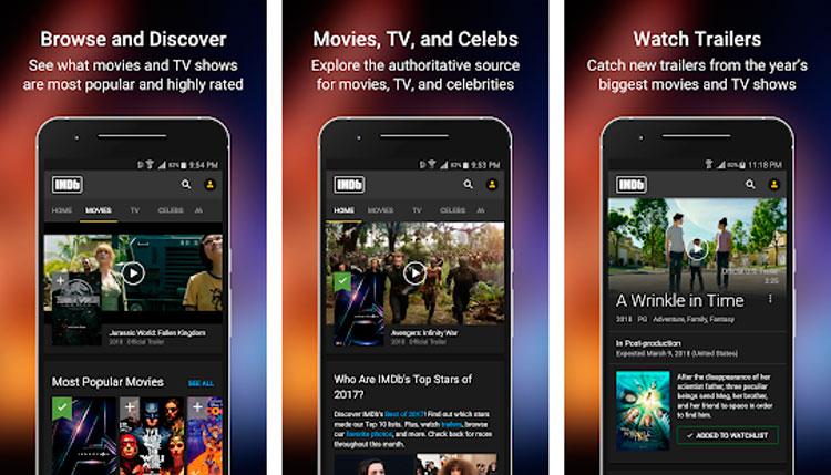 Interfaz gráfica de la app IMDb