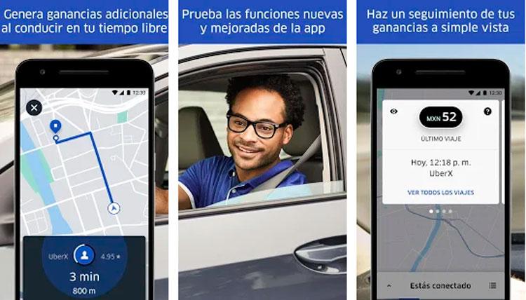 Interfaz gráfica de la app Uber Driver