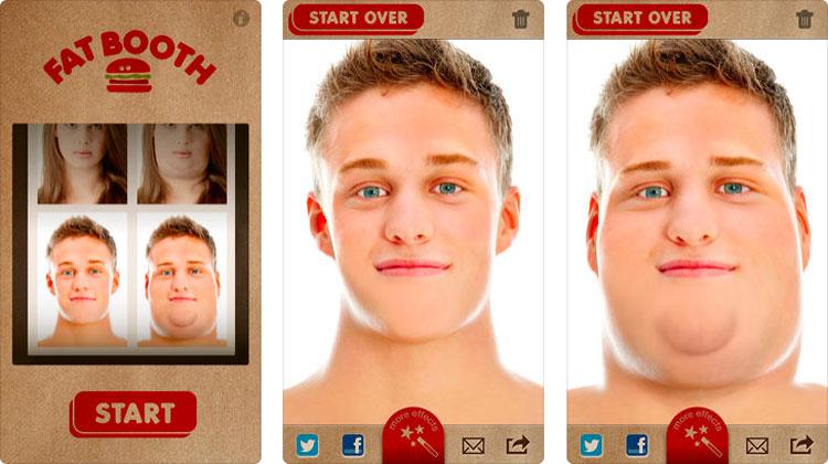 Interfaz gráfica de la app FatBooth