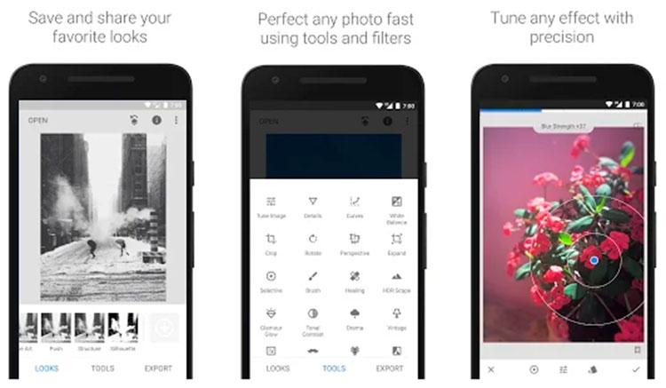 Interfaz gráfica de la app Snapseed