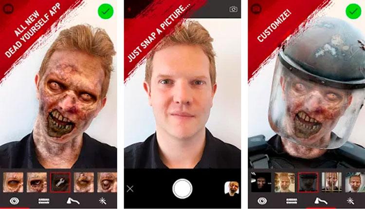 Interfaz gráfica de la app The Walking Dead Dead Yourself