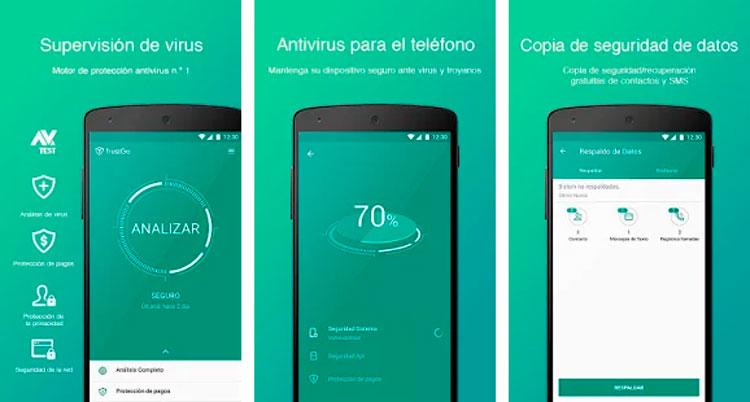 Interfaz gráfica de la app TrustGo Antivirus & Mobile Security