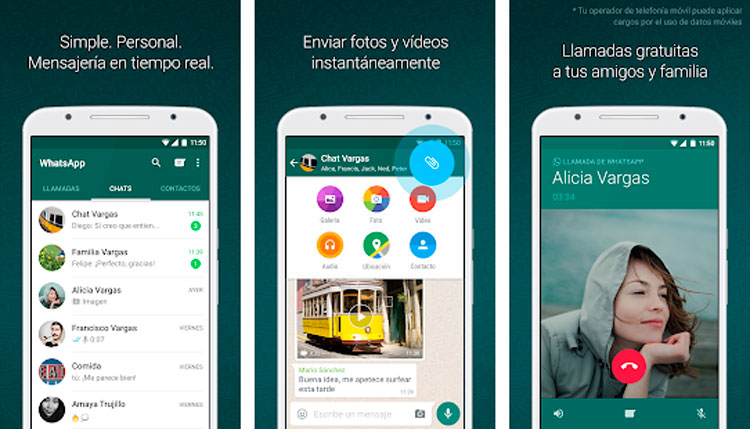 Interfaz gráfica de la app WhatsApp