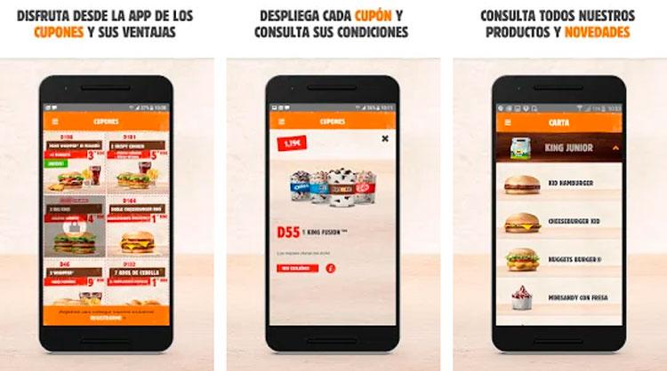 Interfaz gráfica de la app Burguer King España