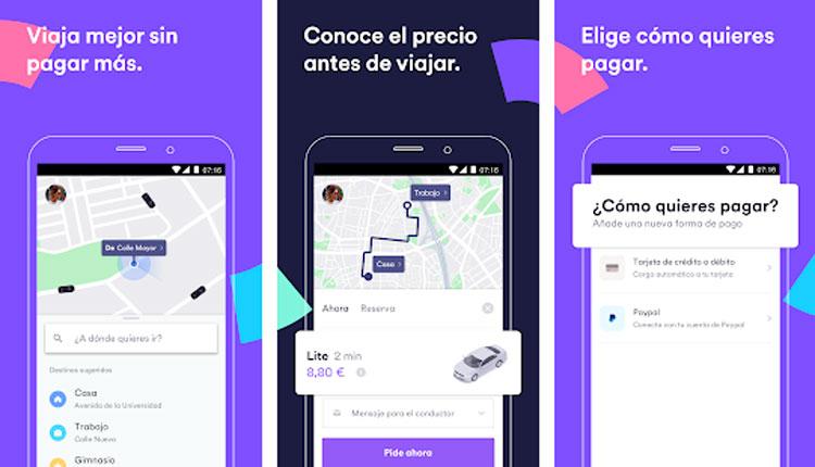 Interfaz gráfica de la app Cabify