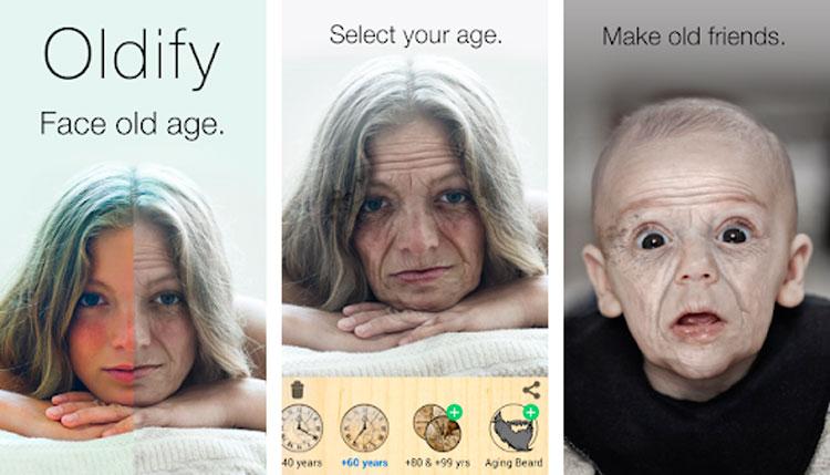 Interfaz gráfica de la app Oldify