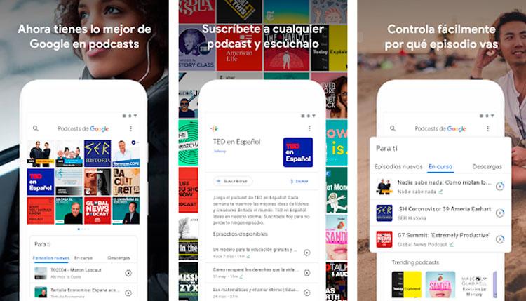 Interfaz gráfica de la app Podcasts de Google