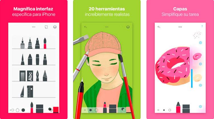 Interfaz gráfica de la app Tayasui Sketches Pro