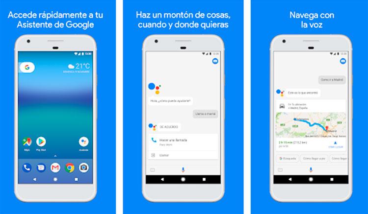 Interfaz gráfica de la app Asistente de Google