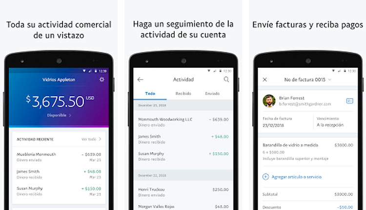 Interfaz gráfica de la app PayPal para empresas