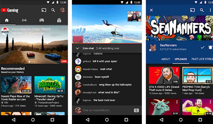 Interfaz gráfica de la app YouTube Gaming