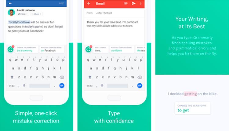 Interfaz gráfica de la app Grammarly Keyboard