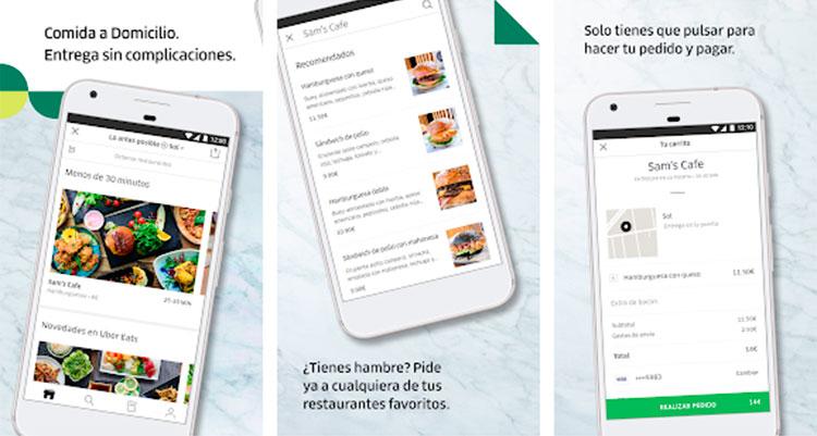 Interfaz gráfica de la app Uber Eats
