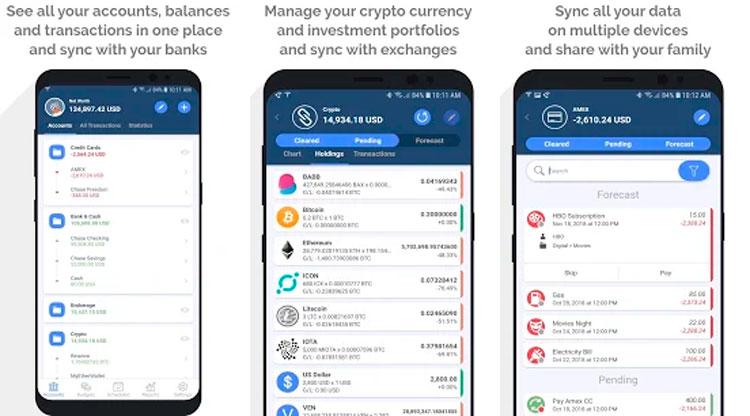 Interfaz gráfica de la app MoneyWiz