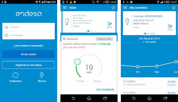 Interfaz gráfica de la app Endesa clientes
